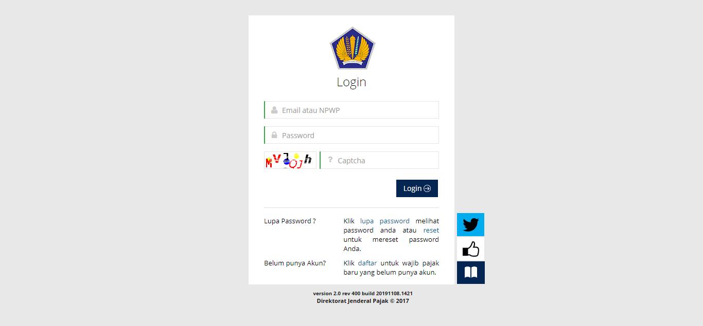 Gambar Dashboard Pendaftaran NPWP